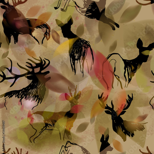 Deer and doe / Autumn seamless background