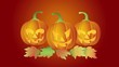 Halloween Candle Lit Dancing Carved Pumpkins with Fall Leaves
