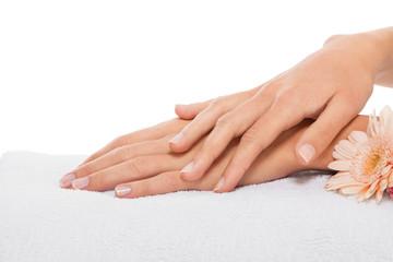 Schöne weibliche feminine Hände nach einer Maniküre isoliert