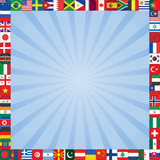 blue rays square background with flags icons frame