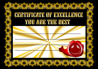 certificate with the inscription you are the best