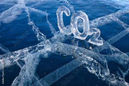 Icy chemical formula of carbon dioxide CO2 - 56660290