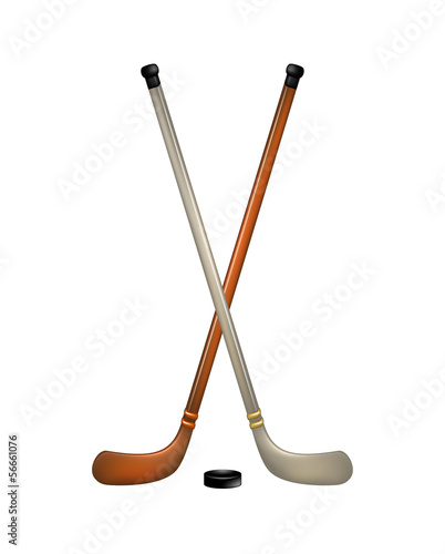 Two crossed ice hockey sticks and puck