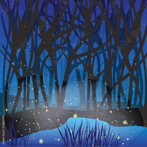 Night magic scene with fireflies.