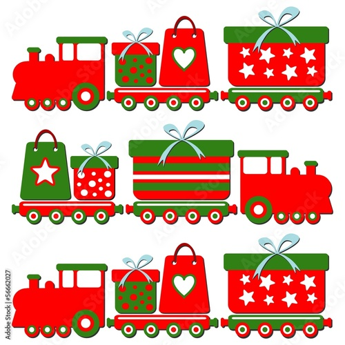 Cute christmas train with gift boxes, vector illustration