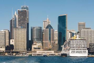 cruise liner moored in Circular Quay in Sydney
