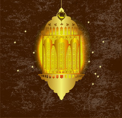 Arabic Lamp with on shiny abstract night background