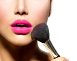 Fototapety Make-up Applying closeup. Cosmetic Powder Brush for Make up