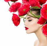 Naklejka Beauty Fashion Model Woman with Red Poppy Flowers in her Hair
