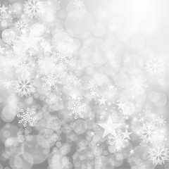 Merry Christmas: Grey Background with stars and snowflakes