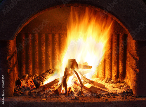 Fireplace with fire