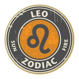 Stamp with the Zodiac Leo symbol horoscope, vector