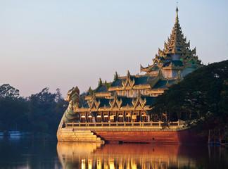 Floating Barge Karaweik on Kandawgyi lake in Yangon, Myanmar