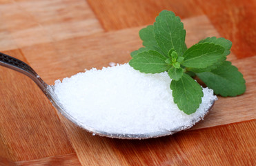 Stevia with spoonful of suger