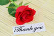 Thank you card with one red rose on bamboo mat