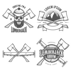 Set of vintage lumberjack labels, emblems and design elements
