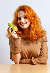 young  woman with big pear