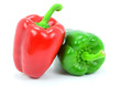 Isolated Red and Green Pepper