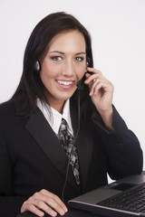 Attractive Young Woman Works Customer Service Computer Headset