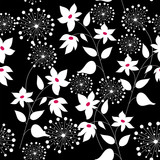 Graphically seamless pattern with flowers