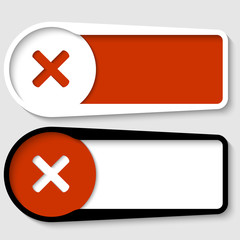 set of two boxes for any text with ban mark
