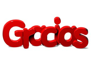 3D Word Thank You In Spanish Language on white background