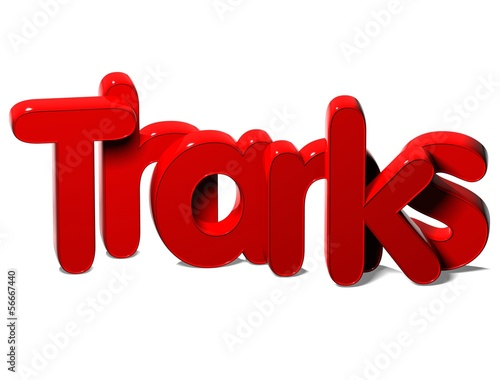 3D Red Word Thanks on white background