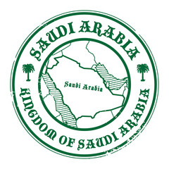 Stamp with the name and map of Saudi Arabia, vector
