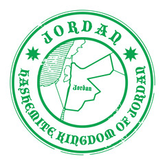 Stamp with the name and map of Jordan, vector