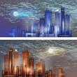 Cityscape in moonlight