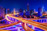 beautiful interchange overpass and city skyline