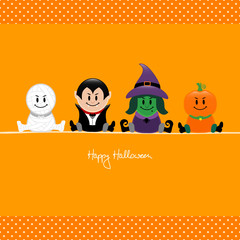 Halloween Mummy, Vampire, Witch & Pumpkin Dots