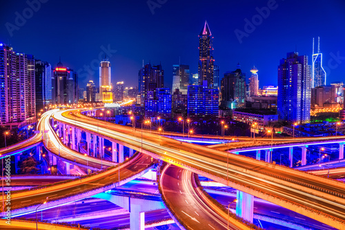 beautiful interchange overpass and city skyline