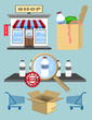 Set of design shopping elements, icons and labels