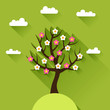 Background with spring tree in flat design style.