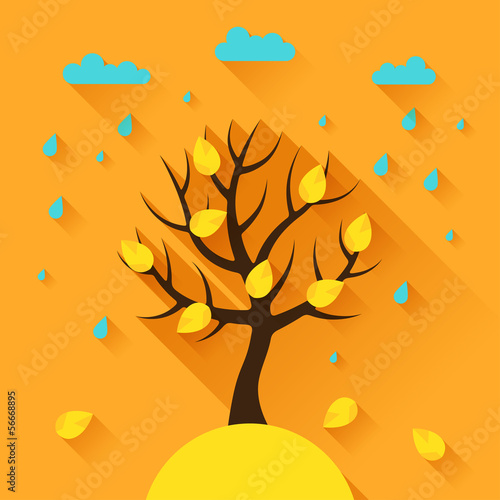 Background with autumn tree in flat design style.