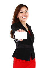 A beautiful woman holding a business card on white background