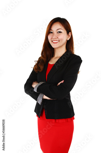 Young Asian business woman with a smile, white background