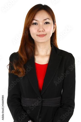 Young business woman with a smile, on a white background