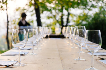 wineglasses on setted table
