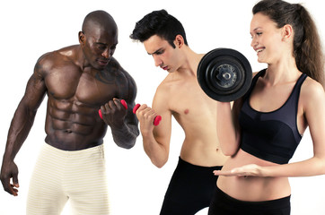 Woman lifting weight and laughing at men slim and bodybuilder