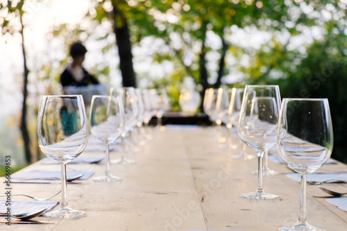 Staande foto Assortiment wineglasses on setted table