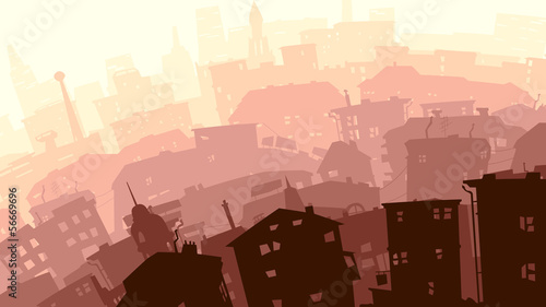 Abstract illustration of big city in sunset.