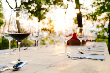 wine glass summertime tuscany