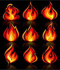 Fire flames new set, with reflection on a blackground