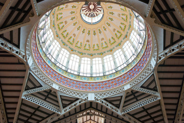 Glass Dome at the Central Market of Valencia