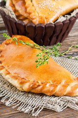 Fresh pies with meat and cheese, bread products