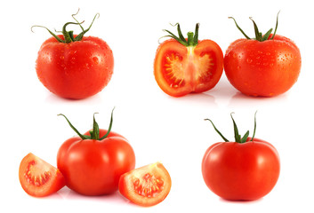 Red tomatoes set isolated on white background.