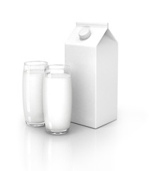 Milk packs and glass of milk isolated on white