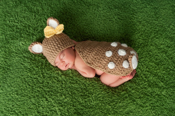 Newborn Baby Girl in Fawn / Deer Costume